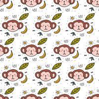 Doodle de macaco padrão Vector