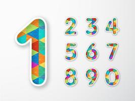Conjunto de vetores de números triangulares geométricos coloridos na moda
