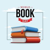 dia mundial do livro o mundo em seu conceito de livro vetor
