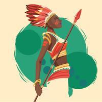 Mulheres indígenas com lanças vetor