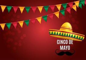 em espanhol cinco de mayo, fundo de feriado vetor