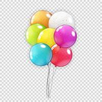 conjunto de coleta de balão realista isolado vetor