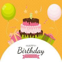 fundo fofo feliz aniversário com caixa de presente, bolo e velas vetor