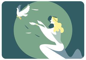 Vetor de mulher e pássaro da paz
