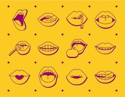 pacote de doze bocas e lábios conjunto de ícones vetor