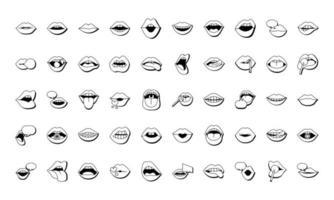 pacote de cinquenta bocas e lábios conjunto de ícones vetor