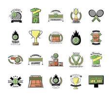 pacote de vinte ícones de conjunto de tênis esportivo vetor