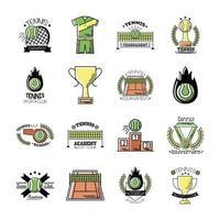 pacote de dezesseis ícones de conjuntos de tênis esportivos vetor