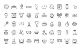 pacote de cinquenta ícones de conjunto de tênis esportivo vetor
