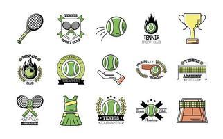 pacote de quinze ícones de conjunto de tênis esportivo vetor