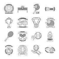 pacote de dezesseis ícones de coleção de jogos de tênis esportivos vetor
