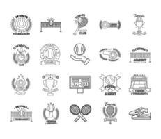 pacote de vinte ícones de coleção de jogos de tênis esportivos vetor