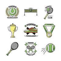 pacote de nove ícones de conjunto de tênis esportivo vetor