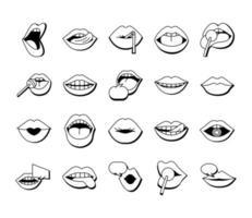 pacote de vinte bocas e lábios conjunto de ícones em fundo azul vetor