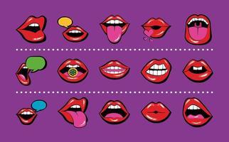 pacote de quinze bocas e lábios conjunto de ícones vetor