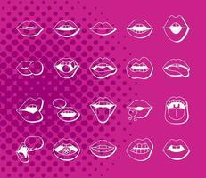 pacote de vinte bocas e lábios conjunto de ícones vetor