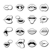 conjunto de dezesseis bocas e lábios conjunto de ícones em fundo amarelo vetor