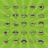 pacote de vinte e cinco bocas e lábios conjunto de ícones vetor