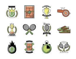 pacote de doze ícones de conjunto de tênis esportivo vetor