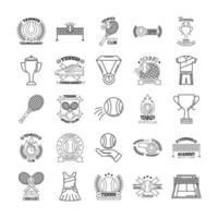 pacote de vinte e cinco ícones de conjuntos de tênis esportivos vetor