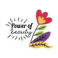 poder feminino da flor da beleza com desenho vetorial de folhas vetor