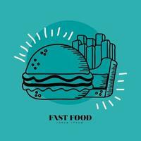 hambúrguer e batatas fritas desenhadas à mão e desenho vetorial vetor