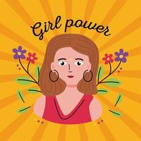desenho de mulher poder feminino em desenho vetorial de fundo listrado vetor