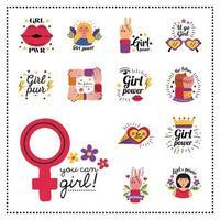 design de vetor de coleção de símbolo de poder feminino