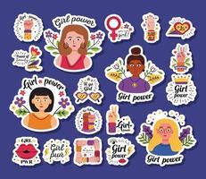 conjunto de ícones de adesivos de poder feminino vetor