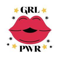 design de vetor girl power mouth