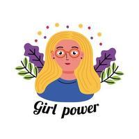 desenho vetorial de mulher loira poder feminino vetor