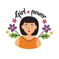 desenho de mulher poder feminino com desenho vetorial de flores vetor