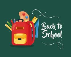 pôster de volta às aulas com mochila e material escolar vetor