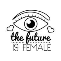 o futuro é o ícone de estilo de linha de letras feminismo feminino vetor
