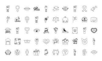 pacote de cinquenta ícones de estilo de linha do feminismo vetor