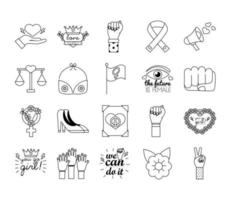 pacote de vinte ícones de estilo de linha do feminismo vetor