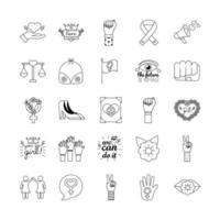 pacote de vinte e cinco ícones de estilo de linha do feminismo vetor