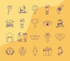conjunto de ícones de estilo de linha do feminismo em fundo amarelo vetor