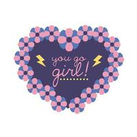 você vai ícone de estilo simples de letras de feminismo feminino vetor