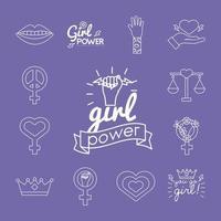 conjunto de ícones de estilo de linha do feminismo em segundo plano vetor