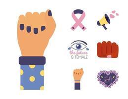 conjunto de ícones de estilo simples do feminismo em fundo rosa vetor