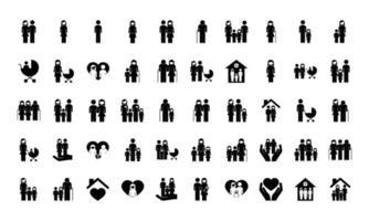 pacote de cinquenta família pais definir ícones vetor