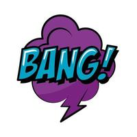 bolha do discurso com bang word estilo plano pop art vetor