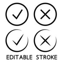 ícones de marca de seleção na cor preta vetor