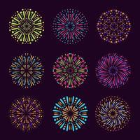 coleção de elementos de fogos de artifício coloridos vetor