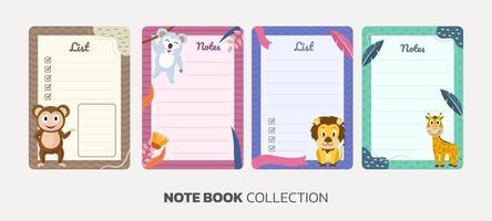 coleção de modelos de caderno animais vetor
