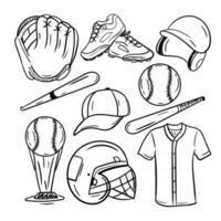 coleção de ícones de arte em linha de beisebol vetor