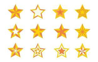 conjunto de ícones de todas as cores do elemento estrela vetor