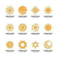 conjunto de logotipo da empresa sol brilhante vetor