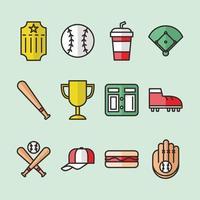 conjunto de ícone de softball vetor